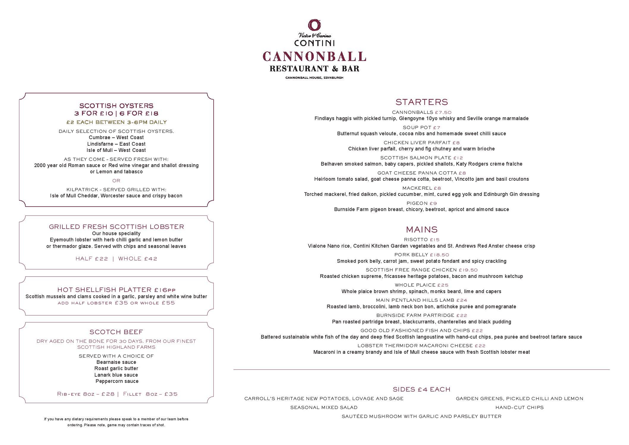 edinburgh dinner menu